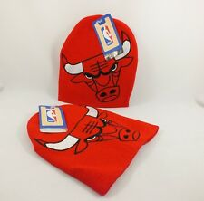 CHICAGO BULLS  BIG LOGO NBA KNIT BEANIE WINTER HAT ALL RED NEW BY ADIDAS