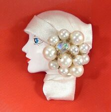 LADY HEAD doll FACE Porcelain-Look Resin Brooch Pin Figural Faux pearls Flapper