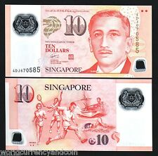 SINGAPORE 10 DOLLARS 2012 POLYMER MUSIC SCOUT UNC CURRENCY 2 DIAMOND BRUNEI NOTE