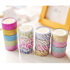 10M 17Color DIY Self Adhesive Glitter Washi Masking Tape Sticker Craft Decor D