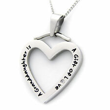 A Granddaughter Is A Gift Of Love Heart Pendant With CZ Stainless Steel Necklace