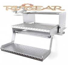 Step Double Tread Pedal Mounting Silver Painted Caravans RV campers Pop Top camp