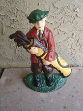Vintage CAST IRON GOLFER Holding Golf Clubs Door Stop, Book End VGC
