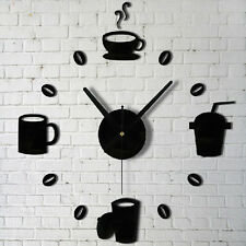 Coffee Cups Kitchen Wall Art Mirror Clock Watches  Decor  For Living