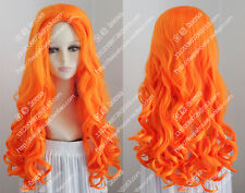 cosplay wig 24''orange wavy curly hair center part bang fashion stage party wig