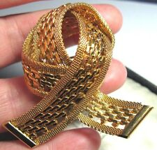 Vintage 1950's Gold tone MESH Metal LARGE Ribbon Bow Jewellery Pin BROOCH