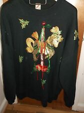 Vintage 3X Jerzees Carousel Horse Sweater Made in the USA Ugly Sweater