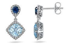 Ohrringe 925er Sterling Silber Aquamarin-farbenen Zirkonia blau/weiß Ohrhänger