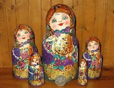 Russian nesting dolls PURPLE GOLD HAND PAINTED Pyrography MATT Babushka 5 signed