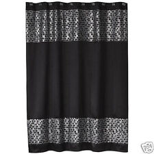 Popular Bath Mosaic Stone Black Fabric Shower Curtain