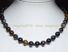 """Natural 10mm Black White Stripe Agate Onyx Gems Round Beads Necklace 18"""""""