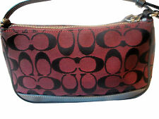 COACH Authentic Signature Jacguard Leather CRANBERRY WINE Handbag So Cute Fr Shp