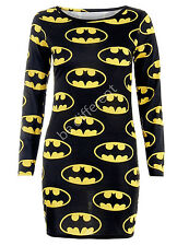 Womens Ladies Batman Superman  Graphic Logo Print Short Mini Bodycon Dress Top
