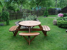 ROUND PICNIC TABLE BENCH 8 SEATS GARDEN FURNITURE