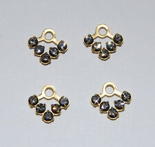 VINTAGE 4 SWAROVSKI BLACK DIAMOND RHINESTONE V PENDANTS BEADS 12mm