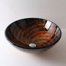 New Black Amber Tempered Glass Round Bathroom Vessel Sink Free Popup Drains Home