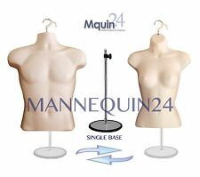 2 MANNEQUINS: 1 STAND 2 HANGERS MALE & FEMALE FLESH DRESS TORSO BODY FORMS
