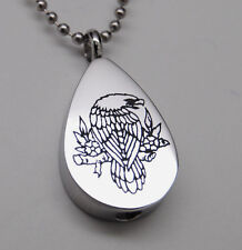 Eagle Cremation Jewelry Tear Urn Necklace Men's Memorial Keepsake Pendant Urns