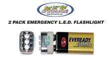 9 Volt LED Emergency Flashlight PACK OF 2 Hurricane Tornado Light Flash-Light