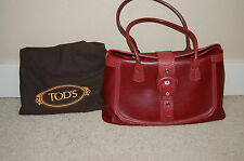 Authentic TOD'S Burgundy Pebbled Leather Buckle Closure Double Strap Handbag