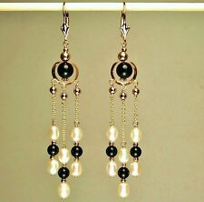 14k solid yellow gold natural Black Onyx & white Pearl nice earrings leverback