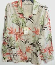 Caribbean Natural Multi-Color Men Floral Linen Long Sleeve Shirt Size XL NWT
