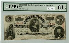 $100 1863 Csa T-56 (#633) Pmg 61Epq. Extra Nice Note. Check out the Photos.