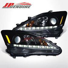 DAYTIME RUNNING LED PROJECTOR HEADLIGHTS BLACK - LEXUS IS250 / IS350 06-10