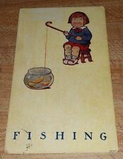 CHILD FISHING IN A FISHBOWL VINTAGE POSTCARD POST MARK DATE JAN 31, 1910 RARE