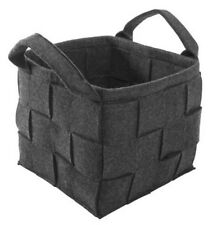 LARGE Dark Grey Felt Weave Storage Basket Bag Magazine Toys NEW Skandi Modern