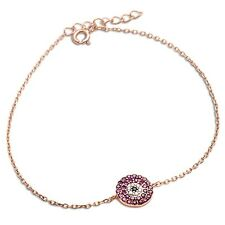 Rose Gold Plated Ruby, White & Black Cz .925 Sterling Silver Bracelet