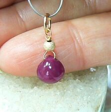 RARE GENUINE NATURAL UNTREATED SMOOTH RED RUBY BRIOLETTE DROP 14K GOLD PENDANT