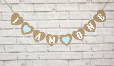 I AM ONE.BIRTHDAY BOY BLUE HEART BUNTING PHOTO GARLAND BANNER