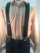 "New, Men's Hunter Green, Large, 2"", Adj. Twin Pin Clip Suspenders, Made in USA"