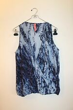 Eight Sixty Women's Blue Printed Cross Front Sleeveless Top Size S