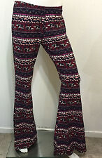 NEW RETRO HIPPIE FLORAL GYPSY URBAN BELL BOTTOM BOHO ELEPHANT FLARED LEG PANT M