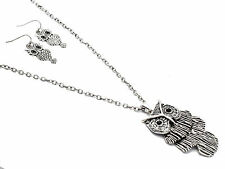 Urban Trend Textured Antiqued Silver Owl Pendant Chain Necklace Dangle Earrings