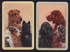 2 SINGLE VINTAGE SWAP PLAYING CARDS ARTIST M GEAR DOGS SCOTTIE SETTER MINT