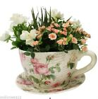 Shabby Rose Large Ceramic Tea Cup & Saucer Rose Pot Planter 34CM