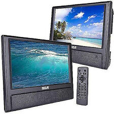 "DVD Player Playback Audio Video Dual Screens 9"" TFT Car Travel RCA"
