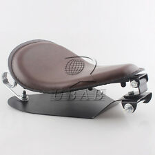 "Brown Leather SOLO Seat Pan Cover Frame 2"" Spring Kits For Harley Bobber Chopper"