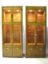 "*PAIR* Drexel Heritage ""Passage"" Campaign Style Illuminated Cabinets; Near Mint"