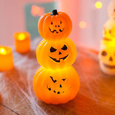 Stack of Battery Operated Wax LED Halloween Pumpkins Table Party Decoration