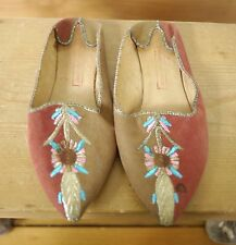 Turkish Middle Eastern Leather Suede Colorful Embroidered Hippy Slippers 5 35