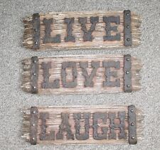 Live Love Laugh Rustic Ranch Barn Wedding Resin Wood Look Plank Wall Decor 3 PC