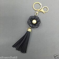 Gold Finish Black Floral Pearl Tassel Designer Inspired Purse Charm Key Chain