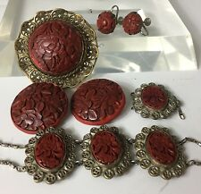 Antique Chinese Cinnabar Silver Filigree Bracelet Brooch Earrings Button Lot