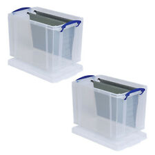 2 x 19 LITRE REALLY USEFUL PLASTIC STORAGE BOXES +24h DEL