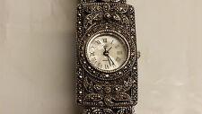 Vintage Art Deco Sterling Silver .925 Marcasite Quartz Womans Watch