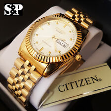 Men Citizen 24K Gold PT Stainless Steel Date & Day Silver Dial Metal Band Watch
